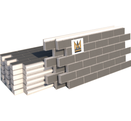 "Фасадные термопанели Клинкер ""кирпич"", серый с белым швом (м2)"