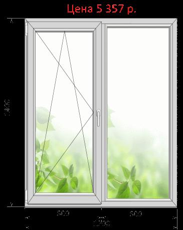 Пластиковое окно, цена 5357 руб. без установки